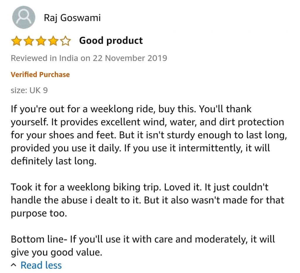 amazon review of shoerella waterproof rain/snow shoe cover for men women , shoe cover for rainy season, waterproof reusable over shoe cover, dry steppers in india