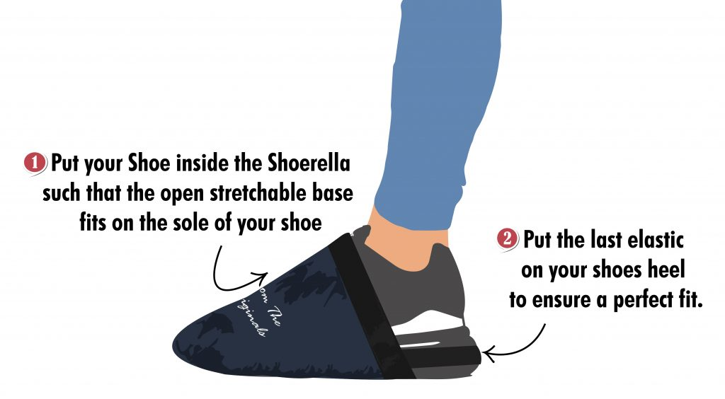 how to wear shoerella, waterproof reusable shoe cover for shoes, shoe covers in india,shoe cover for rain , rain gear, rain gear in india, affordable rain gear, rain gear for riders india, rider gears